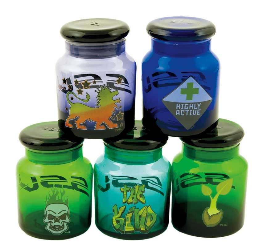 small colored glass jars